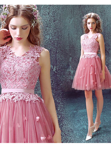 Charming Pink Homecoming Dress Scoop Short Prom Drsess With Lace SKY744