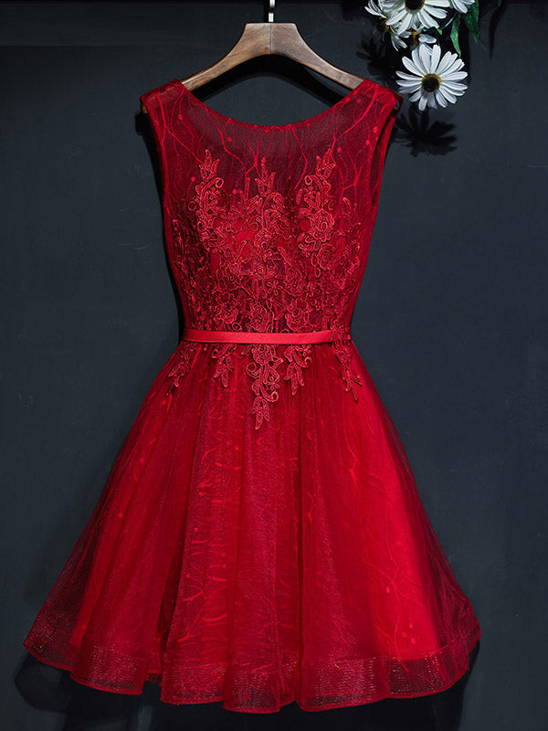 2017 Short Homecoming Dress Burgundy Scoop Lace Cheap Prom Dress SKY746