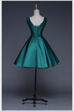Charming A-line Scoop Homecoming Dress Satin Short Prom Drsess SKY748