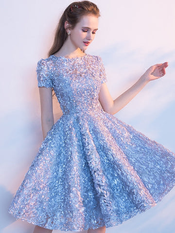 Charming Homecoming Dress Ligh Blue Scoop Short Prom Drsess SKY749