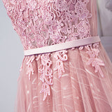 A-line Scoop Tulle Homecoming Dress Pink Short Prom Drsess SKY752