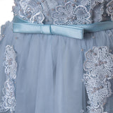 A-line Scoop Tulle Homecoming Dress Blue Short Prom Drsess SKY755