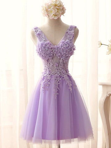 Charming A-line V-neck Short Prom Drsess Homecoming Dress SKY775