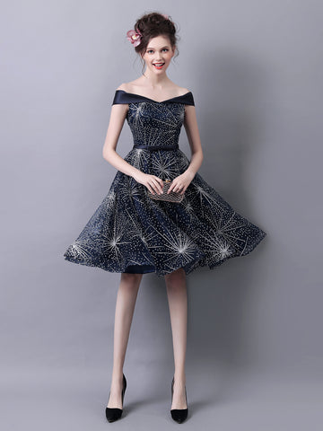 Charming A-line Off-the-shoulder Homecoming Dress Dark Navy Short Prom Drsess SKY777