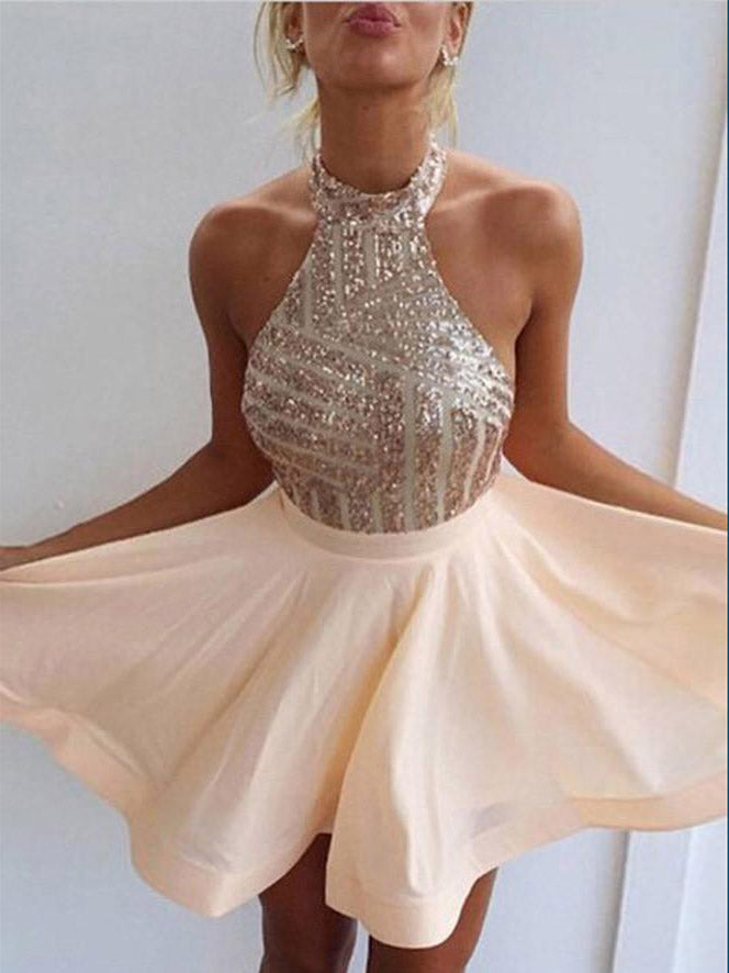 Charming A-line Halter Homecoming Dress Short Prom Drsess SKY778