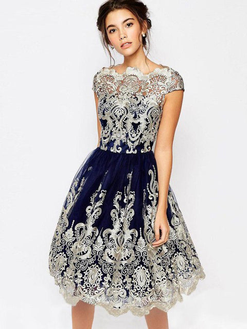 Dark Navy A-line Bateau Short Prom Dresses Homecoming Dress|Amyprom