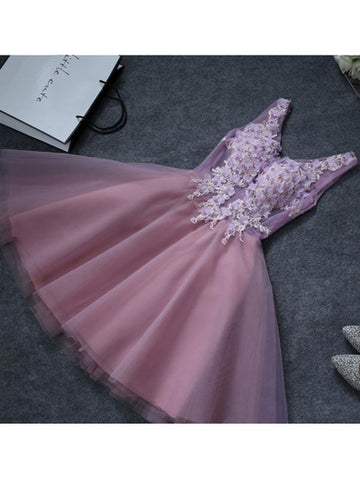 Charming A-line V-neck Tulle Short Prom Drsess Homecoming Dress SKY787