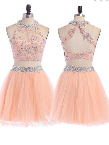 Two Pieces A-line High Neck Tulle Homecoming Dress Short Prom Drsess SKY794