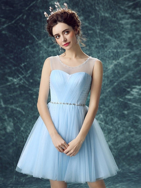 A-line Scoop Tulle Homecoming Dress Short Prom Drsess SKY796