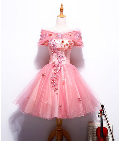 Charming A-line Off-the-shoulder Homecoming Dress Pink Short Prom Drsess SKY799