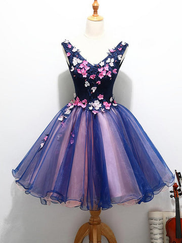 Charming A-line V-neck Homecoming Dress Short Prom Drsess SKY800