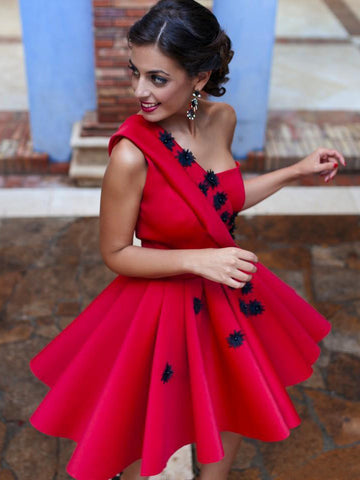 A-line One Shoulder Homecoming Dress Red Short Prom Drsess SKY804