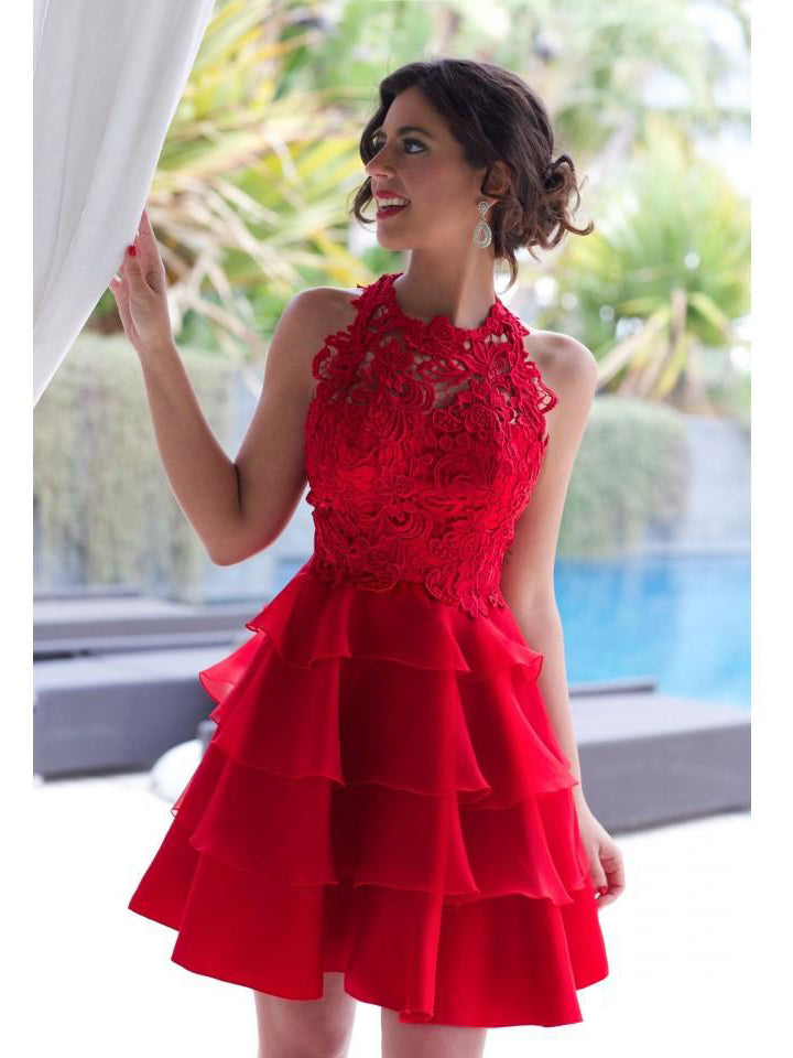 A-line Scoop Homecoming Dress Organza Red Short Prom Drsess SKY805