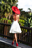 A-line Scoop Homecoming Dress Satin White Short Prom Drsess SKY807