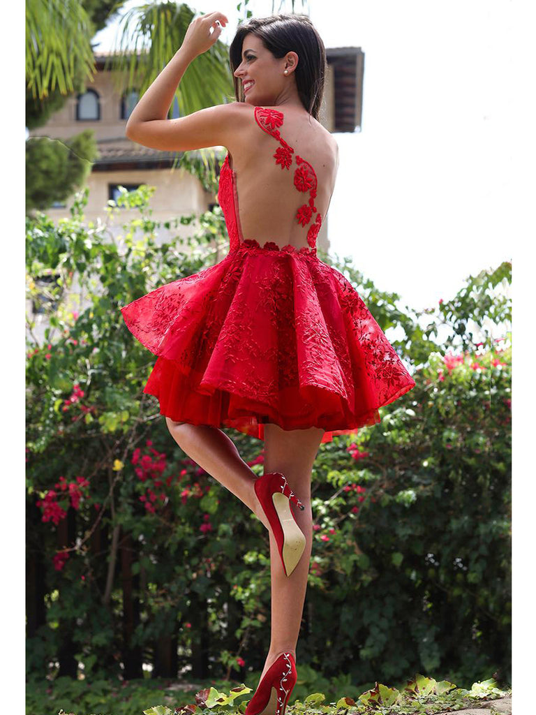 A-line Bateau Homecoming Dress Tulle Short Prom Drsess SKY811