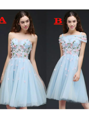 A-line Sweetheart Homecoming Dress Tulle Short Prom Drsess SKY815