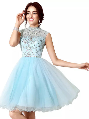 2017 Short Homecoming Dress Blue High Neck Beading Cheap Prom Dress SKY816