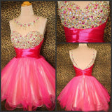 A-line Scoop Homecoming Dress Tulle Short Prom Drsess SKY818
