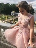 A-line Chic Homecoming Dress Modest Straps Tulle Pearl Pink Applique Modest Cheap Short Prom Dress SKY820