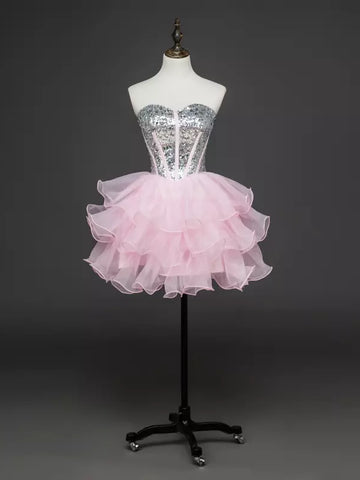 Charming A-line Sweetheart Homecoming Dress Tulle Short Prom Drsess SKY825