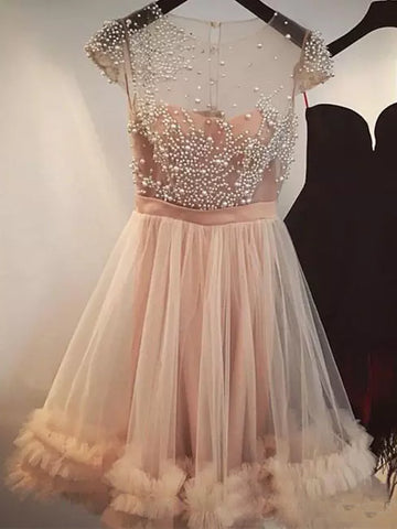 Charming A-line Scoop Homecoming Dress Tulle Short Prom Drsess SKY827