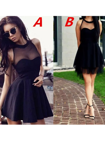 A-line Scoop Black Homecoming Dress Chiffon Short Prom Drsess SKY828