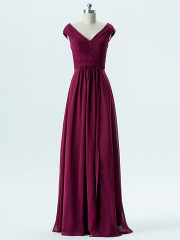 A-line V-neck Floor-length Prom Dress Chiffon Bridesmaid Dress SKY835
