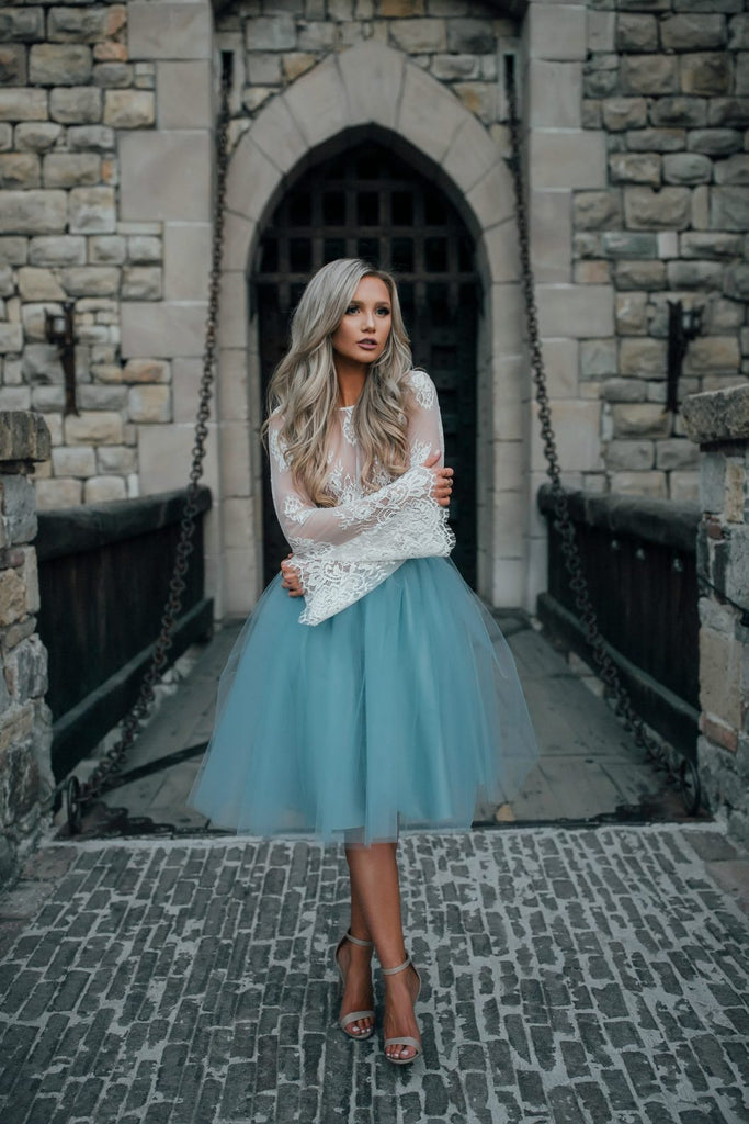 8072b6300de ... A-line Scoop Long Sleeve Homecoming Dress Tulle Green Short Prom Drsess  With Lace SKY840 ...