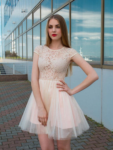 A-line Scoop Short Sleeve Homecoming Dress Tulle Champagne Short Prom Drsess With Lace SKY844