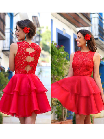 A-line Scoop Homecoming Dress Red Organza Short Prom Drsess SKY847