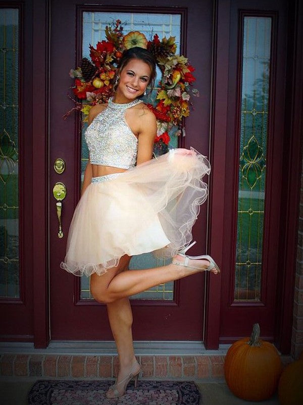 Two Pieces A-line High Neck Homecoming Dress Short Prom Drsess SKY854