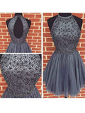 A-line Scoop Homecoming Dress Short Prom Drsess With Beading SKY855