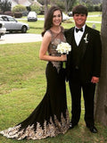 Sheath/Column Scoop Black Tulle Prom Drsess Evening Gowns SKY856