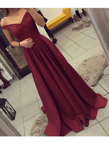 A-line Off-the-shoulder Burgundy Satin Prom Drsess Evening Gowns SKY857