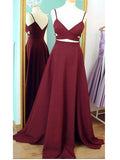 Two Pieces A-line Spaghetti Straps Burgundy Satin Prom Drsess Evening Gowns SKY858