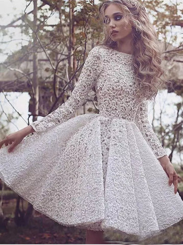 A-line-Beteau-Homecoming-Dresses-White-Short-Prom-Dress-With-Lace-SKY859