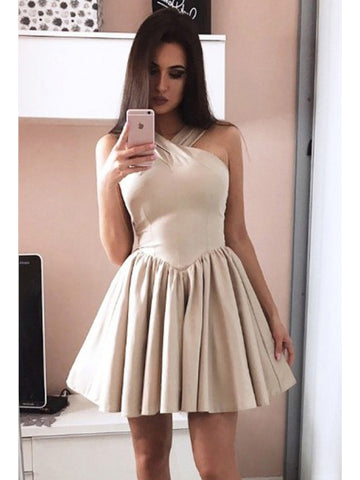 A-line Homecoming Dress V-neck Satin Short Prom Dress SKY863