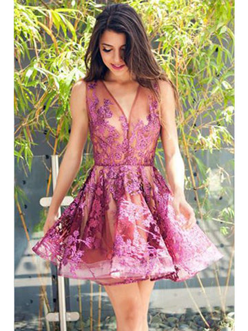 A-line Tull Fuchsia Homecoming Dress V-neck Short Prom Dress SKY869