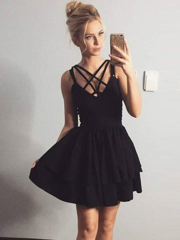 A-line-Spaghetti-Straps-Homecoming-Dresses-Black-Short-Prom-Dress-SKY871
