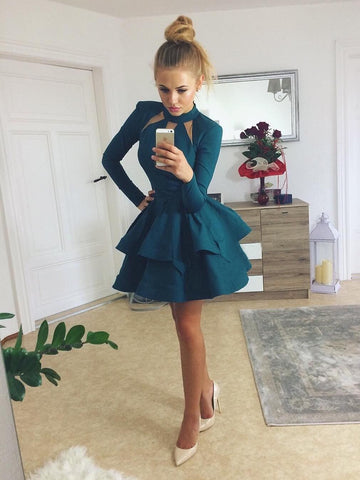 A-line-High-Neck-Homecoming-Dresses-Dark-Green-Short-Prom-Dresses-SKY874