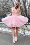 A-line-V-neck-Homecoming-Dresses-Pink-Tulle-Prom-Dresses-SKY881