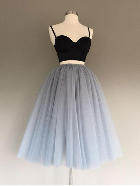 Two Pieces A-line Spaghetti Straps Homecoming Dress Gray Short Prom Drsess SKY887