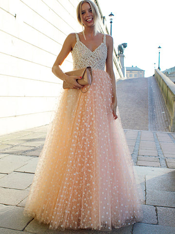Charming A-line Straps Tulle Pearl Pink Prom Dress Evening Gowns SKY892
