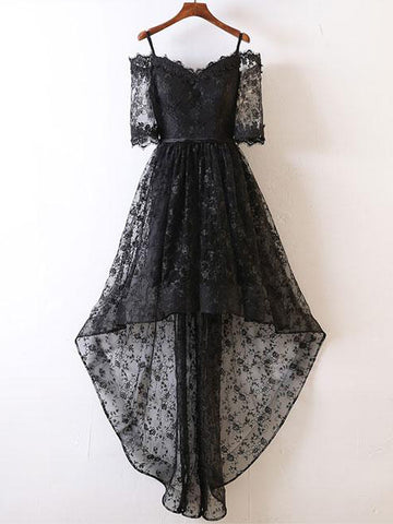 High-Low-A-line-Off-the-shoulder-Homecoming-Dresses-Black-Short-Prom-Dresses-SKY894