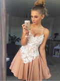 A-line-Spaghetti-Straps-Homecoming-Dresses-Satin-Prom-Dresses-SKY896
