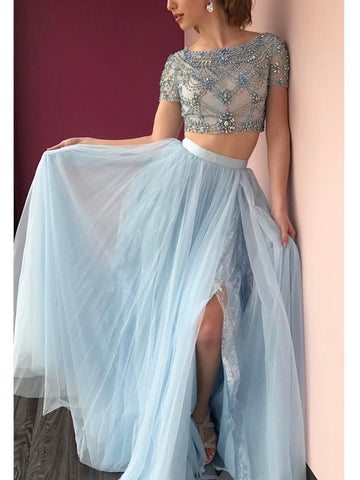 Two Pieces A-line Bateau Floor-length Sky Blue Prom Drsess Formal Dress SKY901