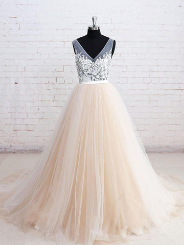 Charming A-line V-neck Floor-length Tulle Prom Drsess Formal Dress SKY902