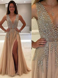 Charming A-line V-neck Floor-length Tulle Prom Drsess Formal Dress SKY906