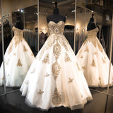 Charming A-line Sweetheart Tulle Golden Prom Dress Evening Gowns SKY907
