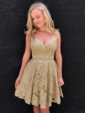 Charming Golden A-line Straps Short Homecoming Dress Short Prom Drsess SKY909